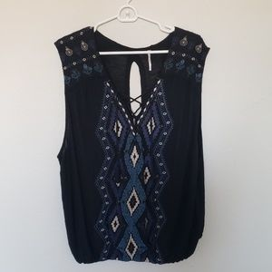Free people Embroidered Aztec Sleeveless Top